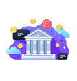 bank building and coins vector image