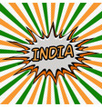 banner flag india style pop art rays vector image