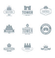 bastion logo set simple style vector image