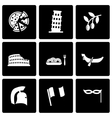 black italian icon set vector image vector image