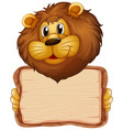 board template with cute lion on white background vector image vector image