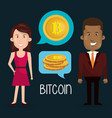business couple with bitcoin vector image vector image