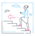 businesswoman climbing a ladder - line design vector image