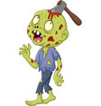cartoon zombie with axe in his head vector image vector image