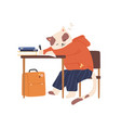 cat cub sleeping at desk while studying in school vector image vector image