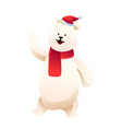 cheerful snowman in hat and red scarf vector image vector image