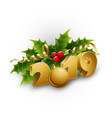 christmas holly berries and tinsel vector image vector image