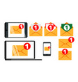 concept unread email message notify set vector image