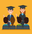couple students graduation with group persons vector image