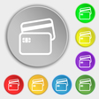 Credit card icon sign Symbol on eight flat buttons vector image vector image