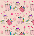 cute bear unicorn pattern background vector image