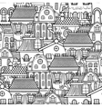 Cute seamless pattern of doodle houses vector image vector image