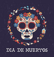 day dead floral sugar skull icon spanish vector image vector image