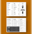 design trifold menu for a cafe or vector image vector image