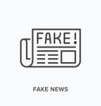 fake news flat line icon outline vector image vector image
