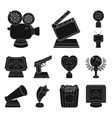 film awards and prizes black icons in set vector image