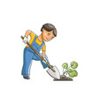 flat boy digging hole for a plant vector image vector image