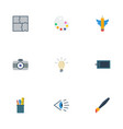 flat icons eye scheme photo and other vector image vector image