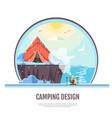 flat style design of winter seaside and camping vector image vector image