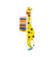 giraffe cartoon character in boots stands smiling vector image
