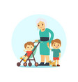 grangma walking with grandsons and dog vector image