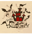 halloween background with bats and haunted house vector image