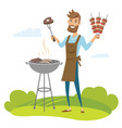 happy man grilling meat on barbecue grill vector image vector image
