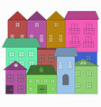 houses in doodle style colorful buildings vector image