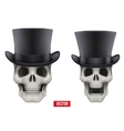 Human skull with black cylinder hat vector image vector image