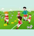 kids in soccer practice vector image vector image