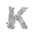 Letter K coloring book for adults vector image vector image