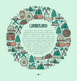 logging and lumberjack with beard concept vector image vector image