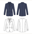 Long sleeve mans buttoned gray colored jacket vector image