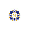 m initial letter logo with luxury ornament vector image