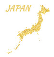 map of japan in golden with gold yellow particles vector image