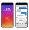 modern smartphones with lock screen and chatting vector image vector image
