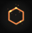 neon orange hexagon frame with space for text vector image