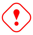red rhomb exclamation mark icon warning sign vector image vector image