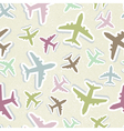 Seamless pattern with colorful airplanes in pastel vector image