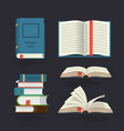 set book icons in flat design style vector image vector image