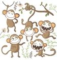 Set of funny hand drawn monkeys vector image vector image