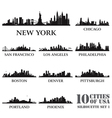 Silhouette city set of USA 1 vector image vector image