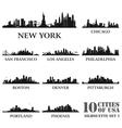 silhouette city set usa 1 vector image
