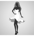 Silhouette of a turning dancer girl vector image