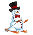 Snowman wearing a hat and a bow ties is skiing for vector image vector image