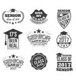 the set of black colored senior text signs with vector image vector image
