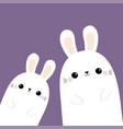 two rabbit bunny in corner happy easter vector image vector image