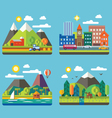Urban and village landscapes vector image