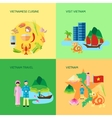 Vietnamese Culture 4 Flat Icons Square vector image vector image