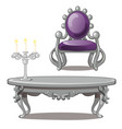 vintage table with candle and chair isolated on a vector image vector image